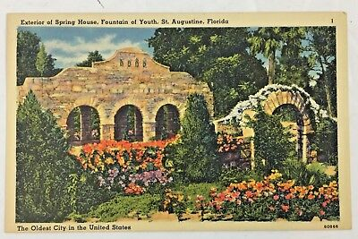 1956 Vintage Postcard Spring House Fountain of Youth St. Augustine Florida