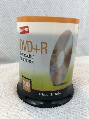 Staples 4.7GB DVD+R,16x  120min 100/Pack