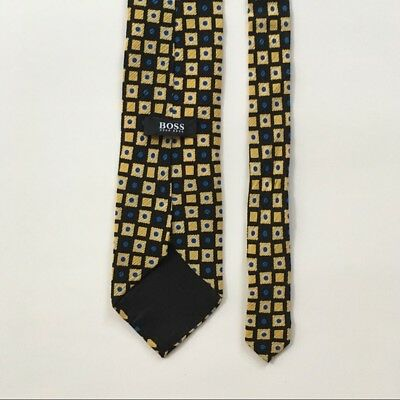 Hugo boss tie gold with blue and black made in Italy 100% silk necktie pa0053