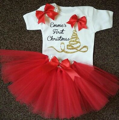 Baby girls my 1st first christmas xmas tutu outfit set red gold