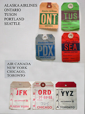 7 airline bag tags 4 Alaska Airline & 3 Air Canada bag tags of 70's and 80's