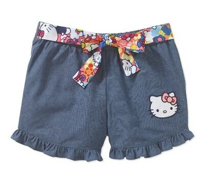 d83e8e426 Hello Kitty Youth Girls Chambray Shorts Printed Tie-Front Belt XS 4-5 Blue