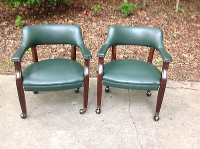 Mid Century Modern Barrel Back Vinyl Rolling Office Chair