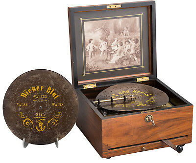 "Antique 1800s Polyphon Music Box with 26 9-1/2"" Discs Excellen Plays Beautifully"