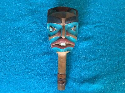Vintage Pacific Northwest Shamans Rattle W/ Abolone Inlay