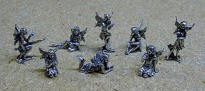 8 PEWTER FAIRIES with COLORFUL CRYSTALS