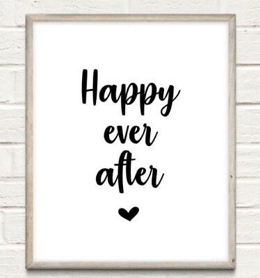 Happy Ever After Typography Print Poster Unframed Quote Love Couple Home Wedding