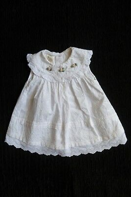 Baby clothes GIRL newborn 0-1m stunning white embroidered rosebud layers dress