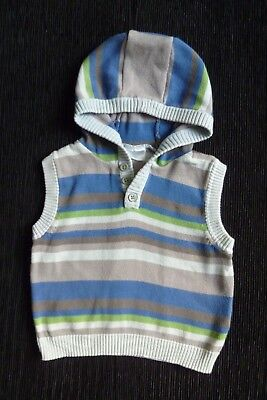 Baby clothes BOY 12-18m soft sleeveless knitted hoodie blue,green,grey SEE SHOP!