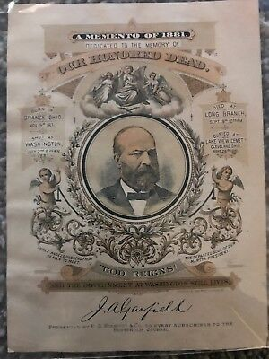 PRESIDENT JAMES A. GARFIELD ASSASSINATION Amazing Condition! 1881 Poster