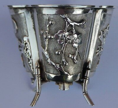 Fine Quality Antique Chinese Export Solid Silver Salt Cellar; Wang Hing  c1890