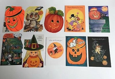 Lot of 10 vintage Halloween Greeting Cards 60's, 70's 80's