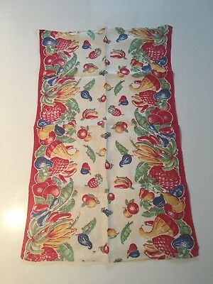 vintage kitchen towel, 1940s, linen, fruit pattern