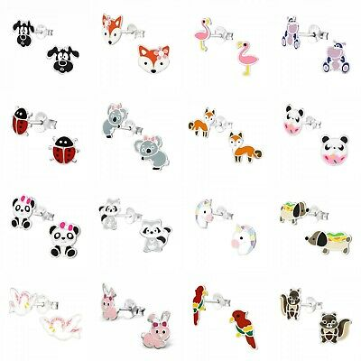 925 Sterling Silver Animal Stud Earrings Unicorn Panda Flamingo Cat Dog Girls