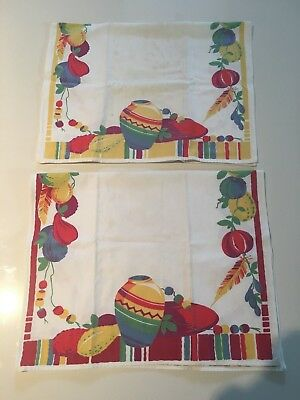 vintage kitchen towel, 1940s, lot of 2, Mexican theme