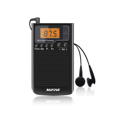 Portable AM FM Radio W/ Headphone Rechargeable Multifunctional Mini Pocket Radio