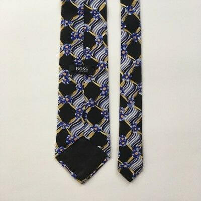 Hugo boss tie black with blue gold made in Italy 100% silk necktie pa0044