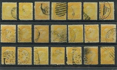 Various cancels on 1c x 21 Small Queen stamps, Canada used