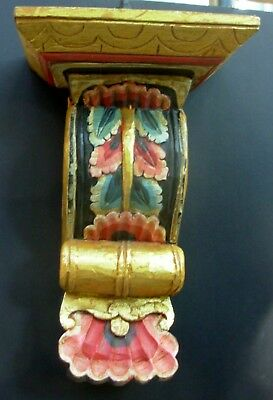 Antique Hand Carved & Painted Wood Large Corinthian Column Capital