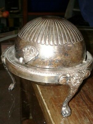 Antique Vintage Silver Plated Round  Roll-Top Butter Dish