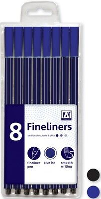 BLACK /& BLUE FINELINER PENS 4Pc QUALITY POINTED TIP School//Office Handwriting