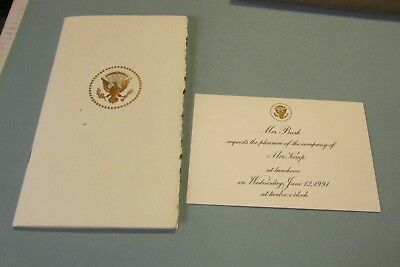 1991 Ladies of the Senate White House Luncheon Program and Kemp Invitation Card