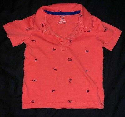 Toddler Boys CARTERS Red & Blue Sailors Polo Shirt 24M 2T
