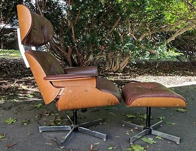 """Vintage Plycraft """"Herman Miller Eames Style"""" Lounge Chair And Ottoman"""
