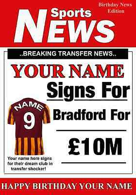 """/""""Bradford City Style/"""" Personalised UNOFFICIAL Football Birthday card"""