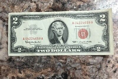 Red Seal $2.00 Bill Series of 1963 United States Note