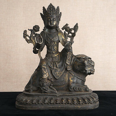 "Superb Chinese Bronze Buddha Scupture Hand-Carved Sitting Lion Base 9.44""H/24cm"
