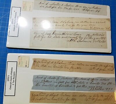 Conecuh County Alabama Tax Receipts - Lot of 6 from 1850's