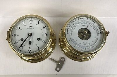 2 Piece Set Schatz Maritime Ship Brass 8 Day Clock and Barometer