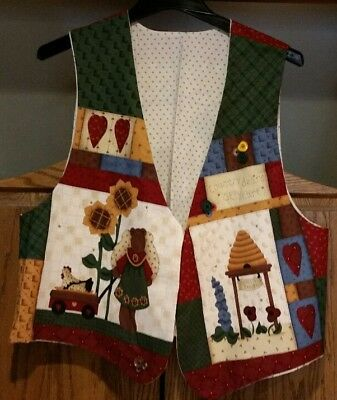 Country Vest, Misses - Large, New! Bears, Bee Hive, Hearts, Sunflowers