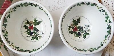 2 Portmeirion The Holly And The Ivy Salad Bowls