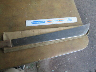 "23"" long machete with sheath.  WWII era.  marked ""MADE IN SHEFFIELD, ENGLAND"""