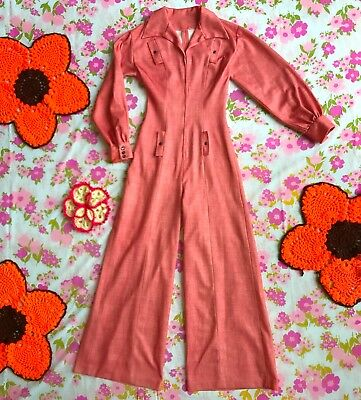 Groovy Pink Rose 70s Mod Retro Hippy Bell Bottom Wide Leg Palazzo Pant Jumpsuit