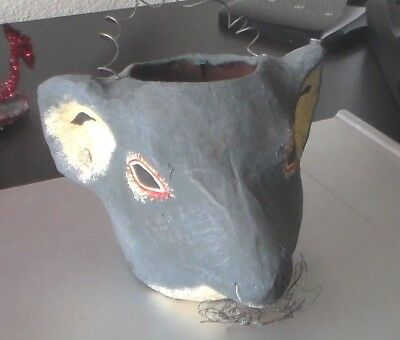 Vintage  Paper Mache, Hand Painted, Halloween Rat Head Candy Container