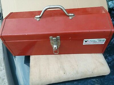 """Vermont American Metal Tool Box With Tray 19"""" Hip Roof Utility Box Vintage"""