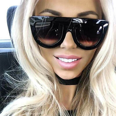 03b2b63ddd8 Celebrity Oversized Flat Top Shadow Sunglasses Thick Plastic Frame Woman  Fashion
