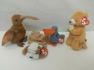 TY Beanie Babies LOT OF 4 Beak Wrinkles Scoop Hope With Tags. Never Played With