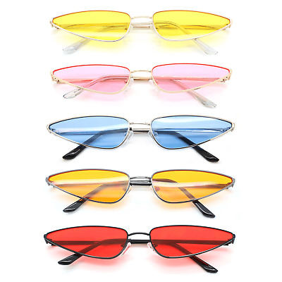 Fancy Cat Eye Sunglasses Thin Metal Frame Color Lens Women Fashion Shades