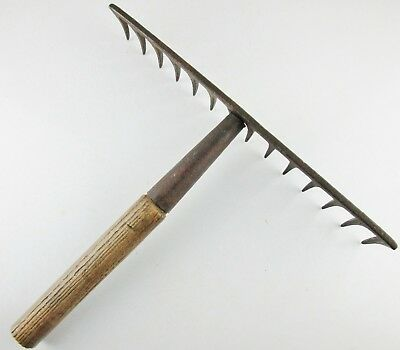 Antique Rake Head with Short Wood Handle 14'' wide Garden Primitive Farm Decor