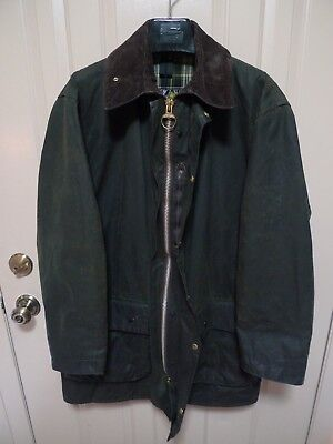 Barbour- A200 Border Waxed Cotton Jacket- Sage-Made @ Uk -Shortened Sleeves-42
