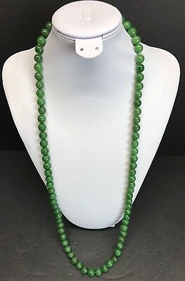 "Vtg Chinese Hetian Green Jade 100% Graduated Round Bead Necklace  32"" In 127 G"
