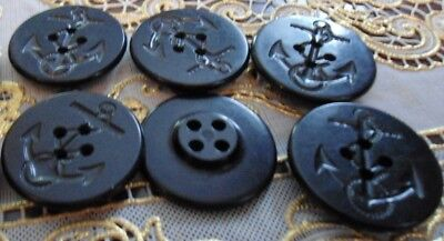 GENUINE Navy Peacoat MILITARY Blk Anchor ROPE Buttons 6 LG US  NAVAL NAUTICAL