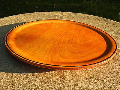 Vintage 16 Round Wooden Serving Tray Large Wood Plate Cheese Board Rare