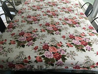 """Vintage Barkcloth Fabric Red Pink Lavender Flowers Cream Background 46"""" wide"""