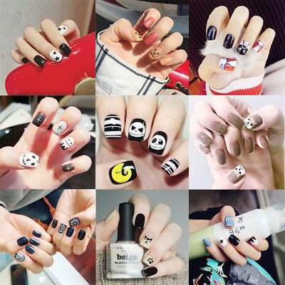 24pcs False Nails Cartoon Halloween Dog Cat Pattern Artificial Nail Tip Manicure