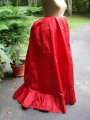 Antique Victorian c 1880s Bustle Back Skirt Petticoat Red Taffeta Risque as is